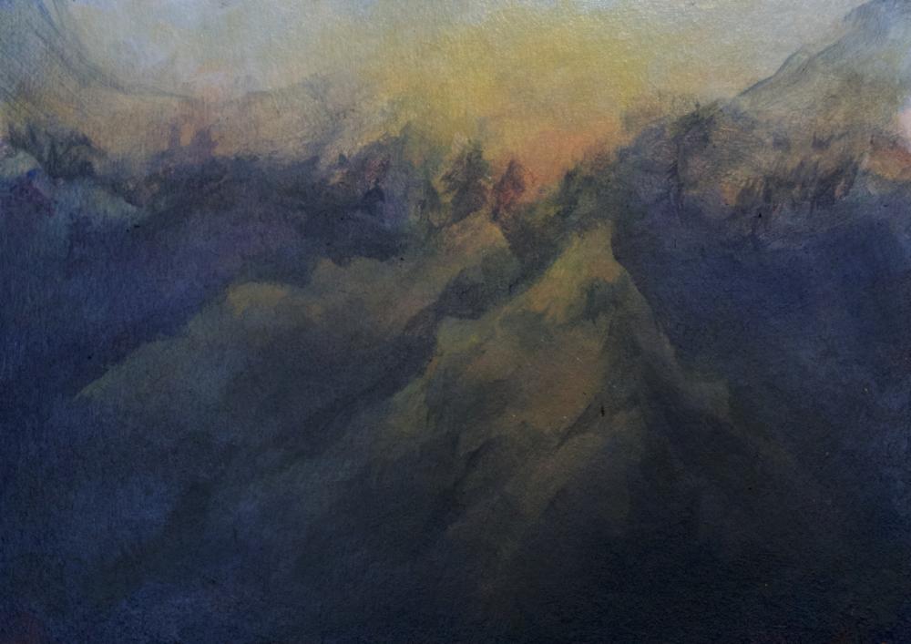 "Yosemite National Park, CA. Acrylic on Panel, 5x7"""