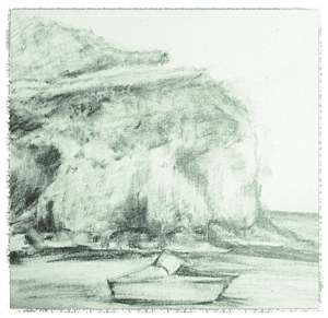 Sketch of Two Harbors from the beach.