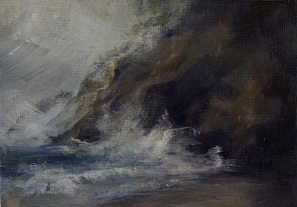 "Wildcat Beach, Point Reyes National Seashore, CA. Acrylic on Canvas Panel, 5x7"""
