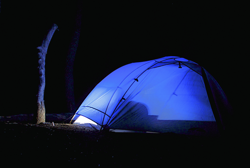 Nighttime camp at Jennie Lakes Wilderness, CA